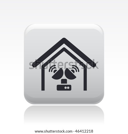 Vector illustration of modern single icon depicting an antenna in a house