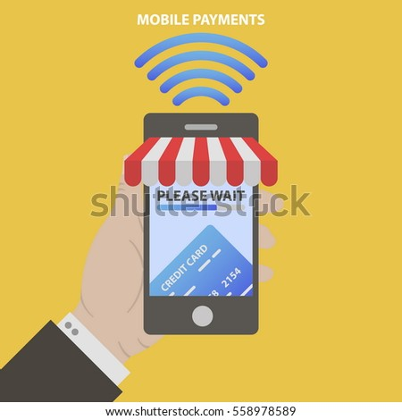 Vector illustration of modern smartphone with awning from store. Processing of mobile payments from credit card on the screen. Communication technology concept.