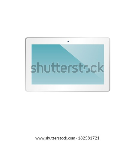 vector illustration of modern stylish white plate in a horizontal form on a white background - stock vector
