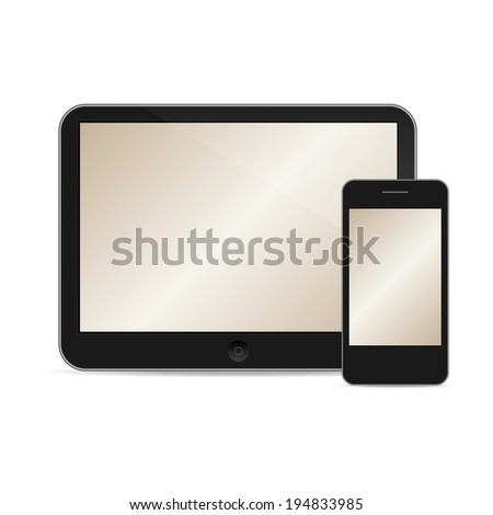 vector illustration of modern tablet and phone together on white background - stock vector