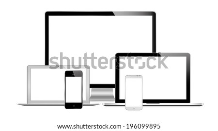 vector illustration of modern technology on white background - stock vector