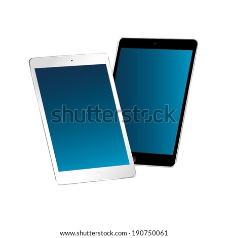 vector illustration of modern thin tablet in two forms on a white background - stock vector
