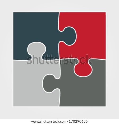 Vector illustration of modern white minimalistic design template made from puzzle - stock vector