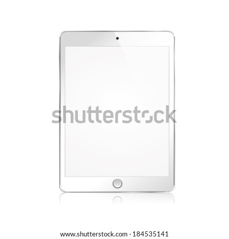 vector illustration of modern white plate with reflection on white background - stock vector