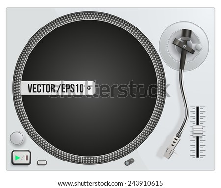 Vector illustration of modern white turntable. Vector isolated on white background - stock vector