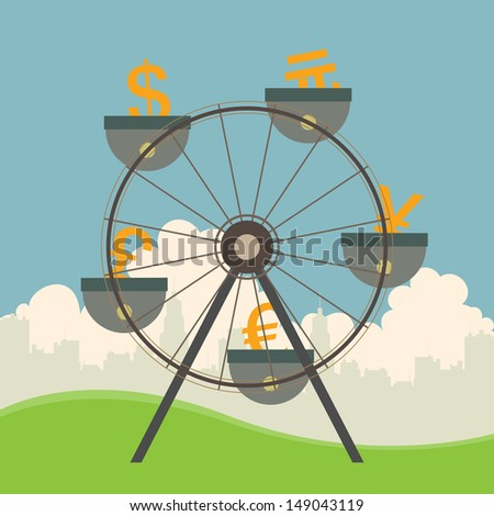 Vector illustration of monetary and currency concept with ferris wheel. - stock vector
