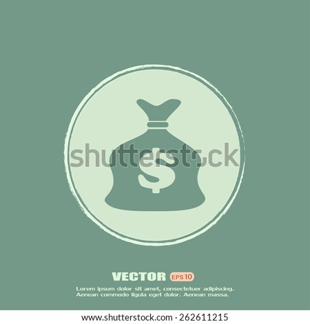 Vector illustration of money bag icon  - stock vector