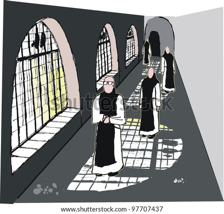 Vector illustration of monks in monastery