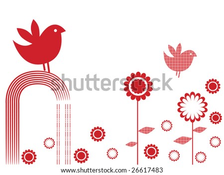 Vector illustration of mono coloured card design, with birds and flowers - stock vector
