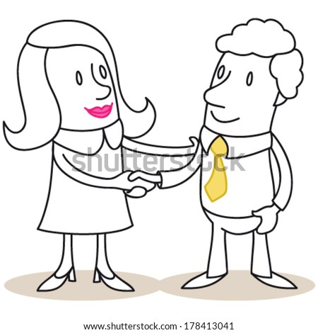 Vector illustration of monochrome cartoon characters: Business woman and man shaking hands. - stock vector