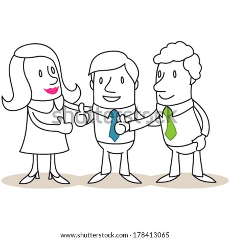 Vector illustration of monochrome cartoon characters: Group of business people giving the thumbs up. - stock vector