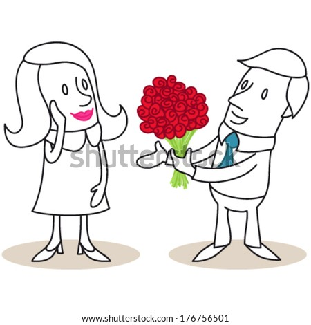 Vector illustration of monochrome cartoon characters: Man giving a bouquet of red roses to flattered woman (JPEG version also available). - stock vector