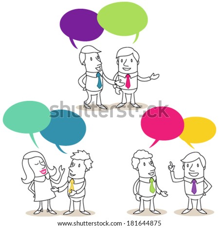 Vector illustration of monochrome cartoon characters: Set of pairs of business people with colorful speech bubbles having conversations. - stock vector