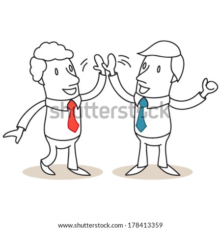 Vector illustration of monochrome cartoon characters: Two business people smiling and high-fiving. - stock vector