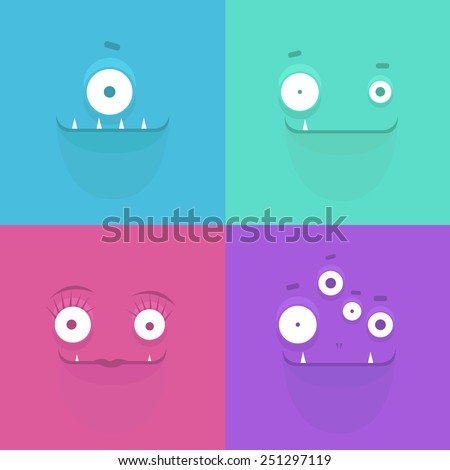 Vector illustration of monster faces background  - stock vector