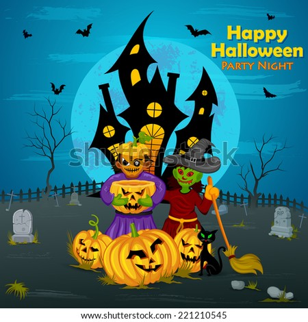 vector illustration of monster with pumpkin in Halloween night - stock vector