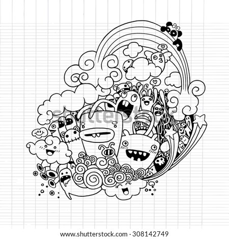 Vector illustration of Monsters and alien cute doodle set,drawing style Pen on Paper Notebook .Vector illustration. - stock vector