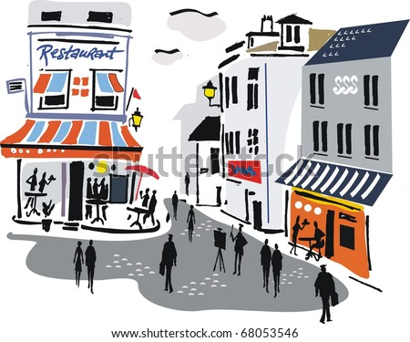 Vector illustration of Montmartre, Paris, France. - stock vector