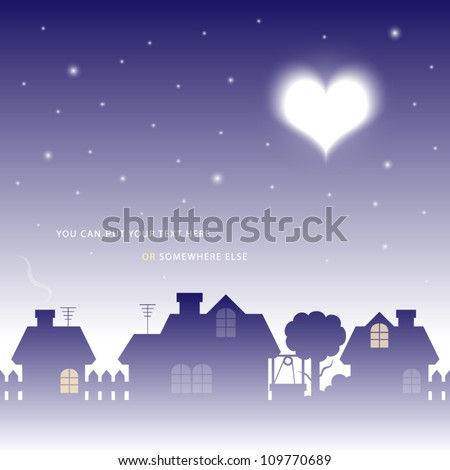 vector illustration of moon in valentine heart shape over a village - stock vector
