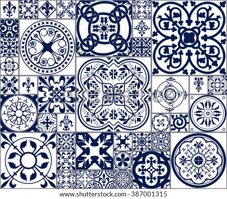 Vector Illustration of Moroccan tiles Seamless Pattern for Design, Website, Background, Banner.Spanish element for Wallpaper, Ceramic or Textile. Middle Ages Ornament Texture Template. White and Blue - stock vector