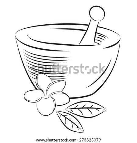 Vector illustration of mortar and pestle with frangipani flower and leaves in graphic minimalistic style - stock vector