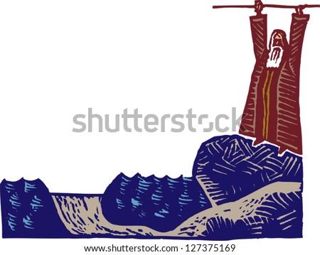 Vector illustration of Moses parting the Red Sea - stock vector