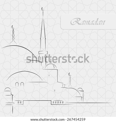 Vector Illustration of Mosque on seamless decorative background for holy month of muslim community Ramadan Kareem - stock vector