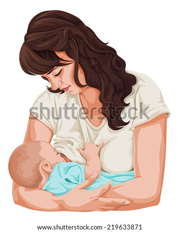 Vector illustration of mother breast feeding her newborn baby. - stock vector