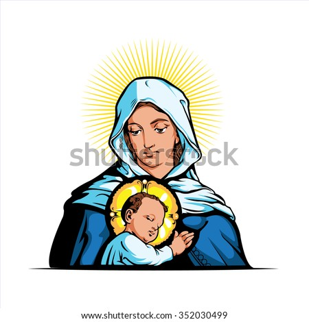 Vector illustration of Mother Mary with Jesus Christ  - stock vector