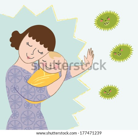 Vector Illustration of Mother Protecting Baby from Germs - stock vector