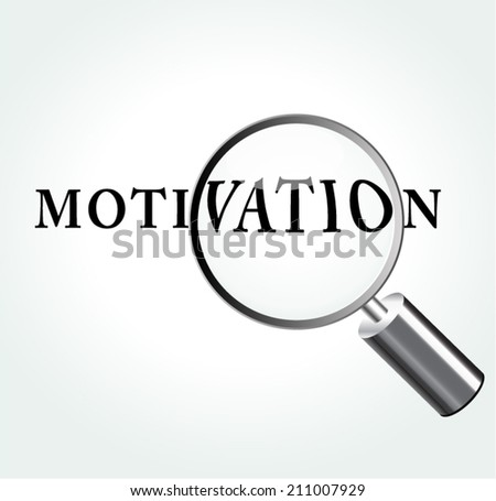Vector illustration of motivation concept with magnifying