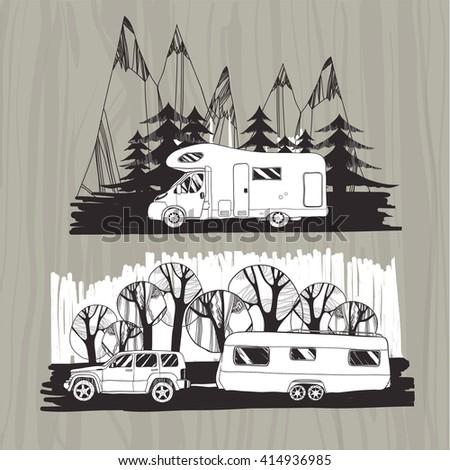 Vector Illustration Of Motor Homes Vans Caravans Mobile Trailer With Forest