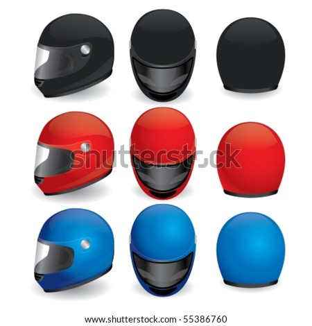 Vector illustration of motorcycle helmet. Black, red and blue set - stock vector