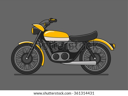 Vector Illustration of motorcycle icon in flat style - stock vector