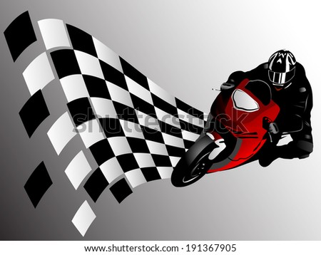 Vector illustration of motorcycle racer and finish flag - stock vector