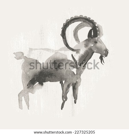 Vector illustration of mountain goat, symbol of 2015. Watercolor (hand draw). - stock vector