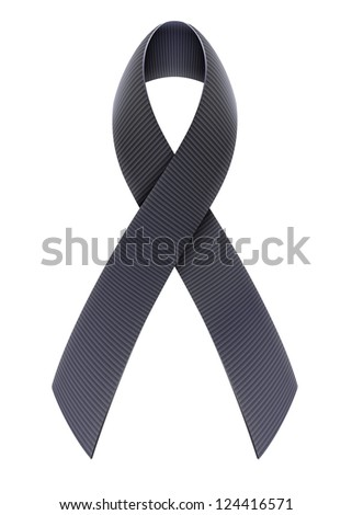 Vector illustration of mourning concept with Black Awareness Ribbon - stock vector