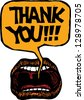 Vector illustration of mouth saying Thank you - stock photo