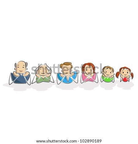 vector illustration of multi-generation family laying on floor - stock vector