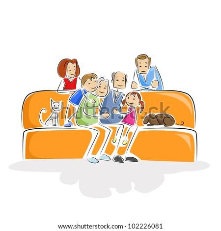 vector illustration of multi-generation family sitting in sofa - stock vector