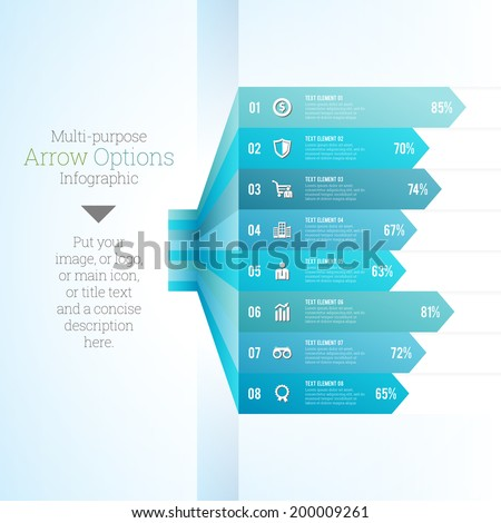 Vector illustration of multi purpose arrow option chart infographic. - stock vector