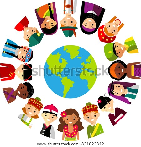 Vector illustration of multicultural national children, people on planet earth. Set of international people in traditional costumes around the world - stock vector