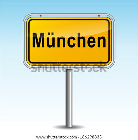 Vector illustration of munich signpost on sky background - stock vector
