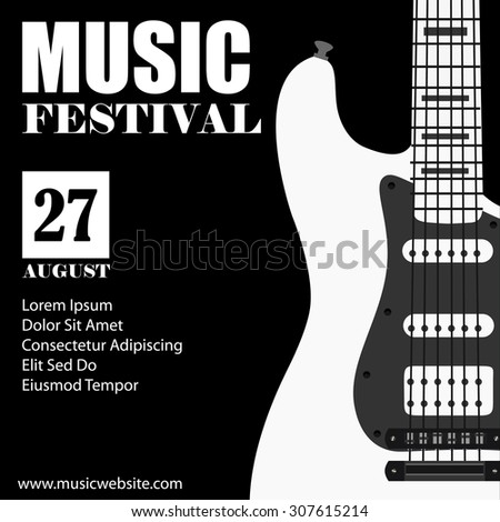 Vector illustration of music background with black electric guitar music poster music festival