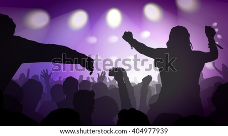Vector Illustration Of Music Concert With Audience  - stock vector