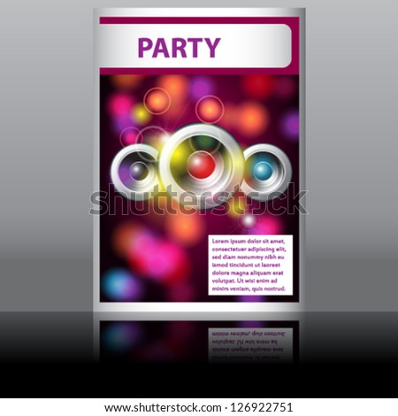 Vector illustration of music disco flyer with glittering rainbow lights - stock vector