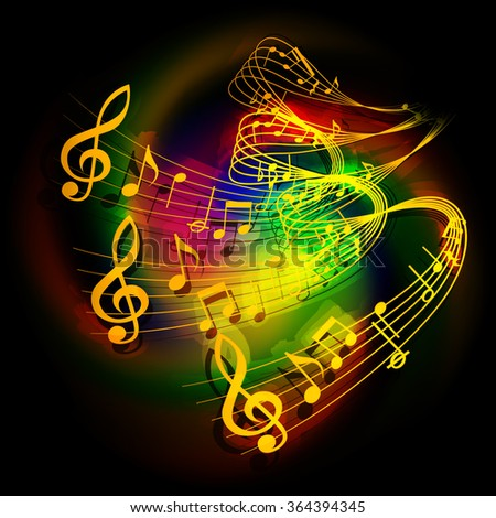 Vector illustration of musical background waves musical notes on a colored background. - stock vector