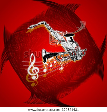 Vector illustration of musical background with saxophone and trumpet on red background with textures. - stock vector