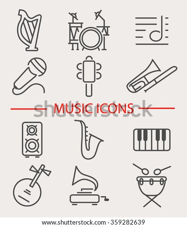 Vector illustration of musical instruments. Set of music icons: harp, trombone, gramophone, yueqin, shaking bell, notes, drum, microphone,  saxophone. Line style design. - stock vector