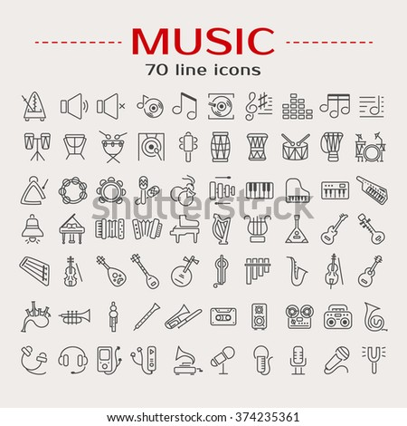 Vector illustration of musical instruments. Set of 70 music icons: tambourine, notes, recorder, guitar, cassette, lyre, gramophone, microphone, xylophone, drum, piano, gong. Line style design. - stock vector